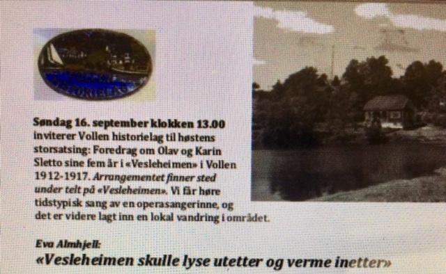 Løpeseddel. Slettos fem år i Vollen. Arr. 16.9.2018.