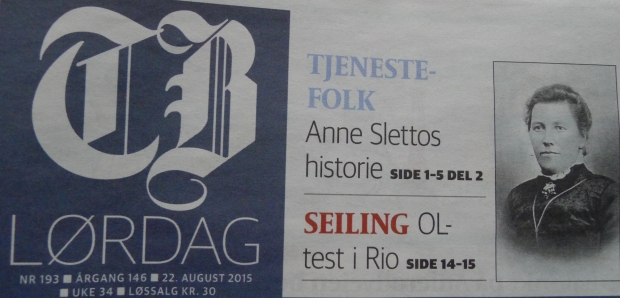 Anne Slettos historie i Tønsbergs Blad 22. august 2015